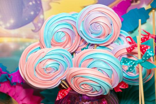 Colorful sweet merengue closeup view