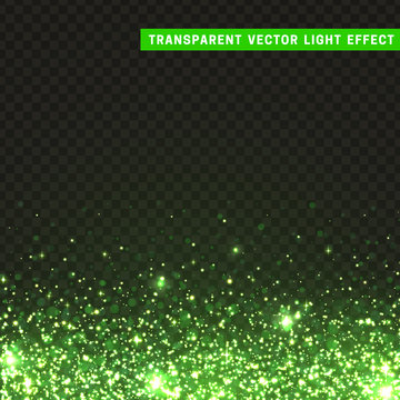Transparent vector light effect green. Glitter particles, shining stars , space background. Bright design element, green luxury greeting card