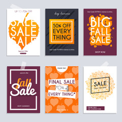 Fall sale. Set media banners with discount offer. Shopping backg