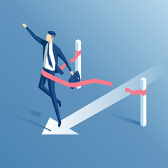businessman crosses the finish line or the red ribbon, isometric businessman wins the test, 