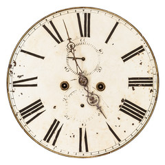 Ancient damaged clock face isolated on white