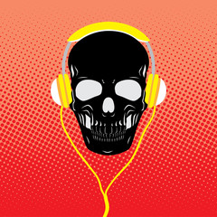 The skull on retro background with headphones listening to music.