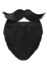Black beard with curly mustache isolated on white