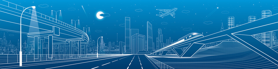 Automotive flyover, infrastructure and transportation panorama, plane flies, train move on the bridge, business center, night city, towers and skyscrapers, urban scene, vector design art
