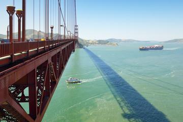 USA, California, San Francisco, ships under Golden Gate Bridge