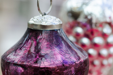 Close up of vintage mercury glass Christmas ornaments