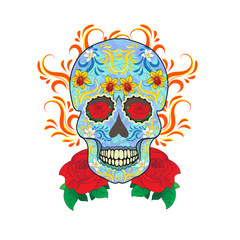 Day of the Dead celebration, a festival in Mexico. Sugar skull on a white background. Skull Tattoo Old School. Vector illustration