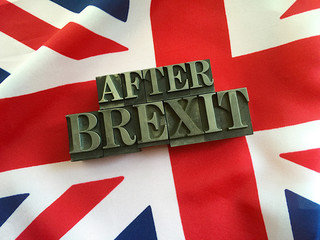 British flag with the words after Brexit in metal type letters