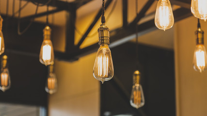 Light bulbs with base in a row