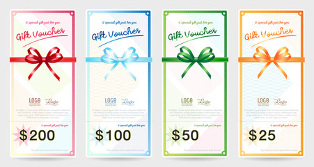 Set of portrait gift voucher or gift card with shiny red, blue, green, orange and vector ribbon