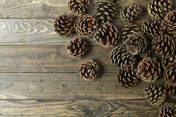 Pine cones arranged on a rustic wooden background forming a page border