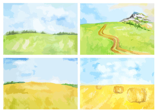 Watercolor rural landscape. Beautiful green field and blue sky. Summer village or farm. Blue sky with yellow fields and haystacks.