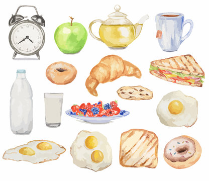 Watercolor breakfast set. Meals for morning as croissant, fried eggs, bacon, tea and more. Fresh and tasty snack.