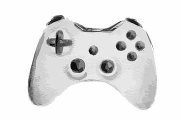 Isolated watercolor grey gamepad on white background. Controller for pc computer or play station.