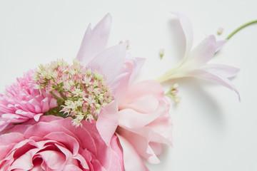 frame on the corner of a pink flower