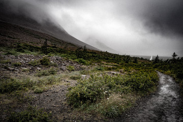 Eerie  wide angle view of the Tablelands shrouded in mist