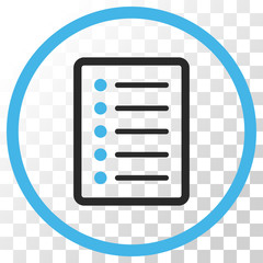List Page vector icon. Image style is a flat blue and gray colors pictograph symbol.