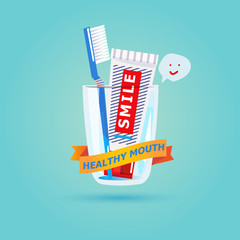 Toothbrushes and toothpaste in glass with lable design. healthy