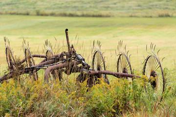 farm equipment in a field