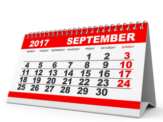 Calendar September 2017 on white background.