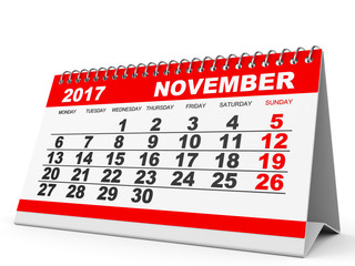 Calendar November 2017 on white background.