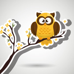 owl yellow tree leaves yellow vector illustration eps 10