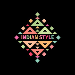 Tribal colorful logo with geometric shapes. Indian style