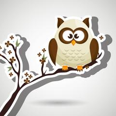 owl blue tree leaves blue vector illustration eps 10