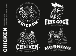 Set chicken emblem on dark background