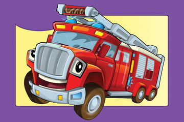 cartoon scene with fire truck looking and smiling - illustration for children