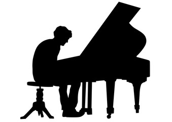 Pianist of classic music on a white background
