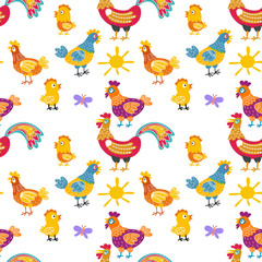 Vector fun chickens seamless pattern background with hand drawn farm birds.