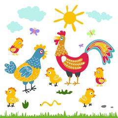 farm birds family cartoon flat illustration. rooster hen chicken isolated on white background
