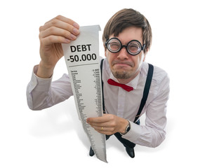 Crazy and funny disappointed accountant is showing long receipt. Isolated on white background.