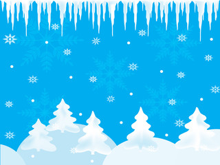 Winter background with snowflakes and icicles
