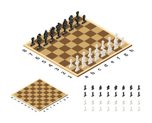 Classical chessboard with chess figures in isometric view on white