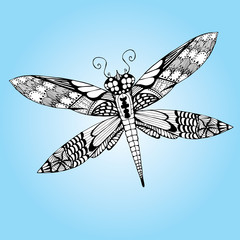 Dragonfly. Set. Line art. Tattoo. Black and white. Dudling. Zentangl. Stylized. Decorative. Drawing by hand. Isolated. Background.