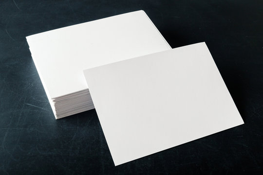 backed paper blank business cards on the stack