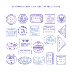 Vector south eastern asia common travel visa stamps set
