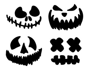 scary, pumpkin face vector symbol icon design