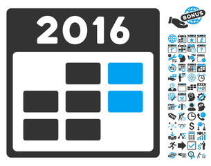 2016 Month Calendar icon with bonus calendar and time management clip art. Vector illustration style is flat iconic bicolor symbols, blue and gray colors, white background.