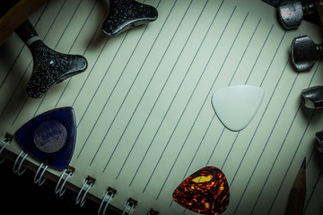 background of notebook and accessories
