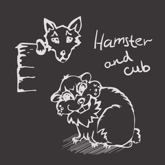white Linear hand drawn Hamster And Cub on black