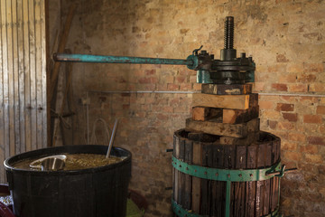 Grape harvest: old Wine press in a winery