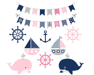 Baby girl nautical set with boats and whales