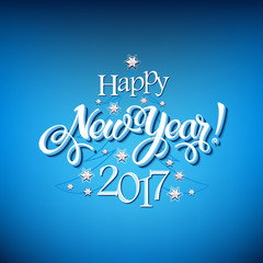 Happy New Year 2017 sign on blue background. Calligraphy text, poster template. Vector