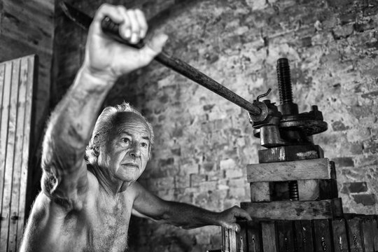 Old shirtless winemaker farmer working on a traditional wine press . Black and white picture