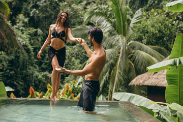 Couple enjoying holidays at luxury resort