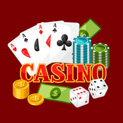 Casino gambling background or flyer with game objects