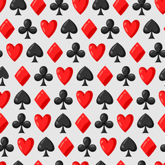 Seamless pattern of casino red and black card suits